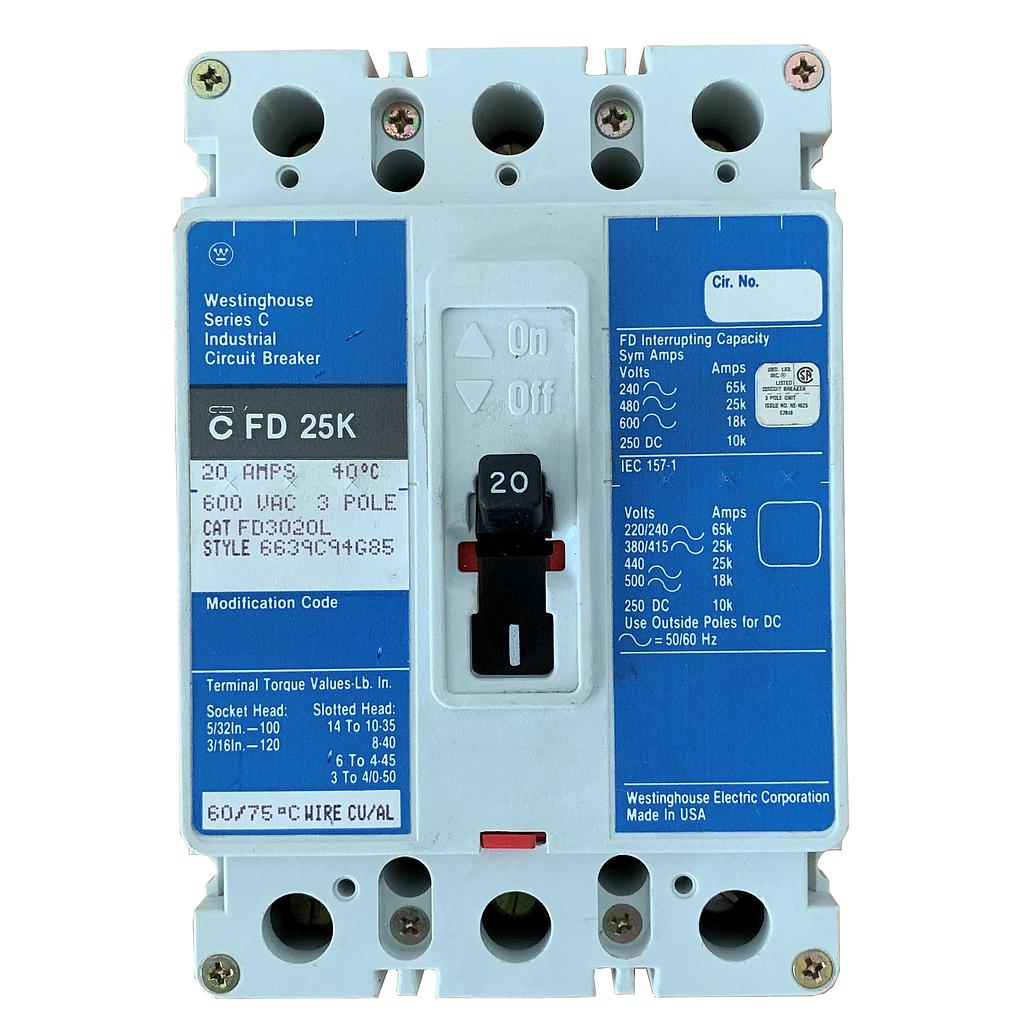 Breaker Superficial 3 x 20 Amperios TQD. Marca  WESTINGHOUSE